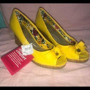 Yellow Wedge Open Toe Heels